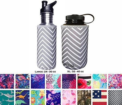 Koverz XL Neoprene 32-40 oz Water Bottle Insulator Cooler Coolie - Gray - Ounce Cans 32