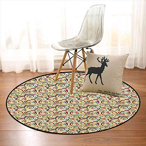 (Geometric Bedroom Carpet Rhombuses Square Tiles and Circles Colorful Abstract Circular Bullseye Pattern for Various Areas D59 Inch Multicolor)