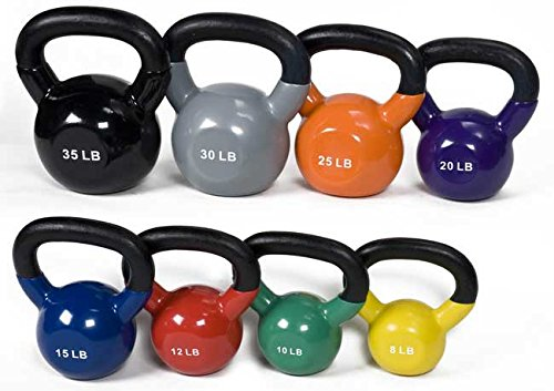 j/fit Cardio Workout Kettlebell Weights | Vinyl Coated Solid Cast Iron – No Fillers | Wide Ergonomic Polished Handle For Smooth Grip | Extreme Training, Tone Fitness, Boxing, CrossFit and Weight Loss
