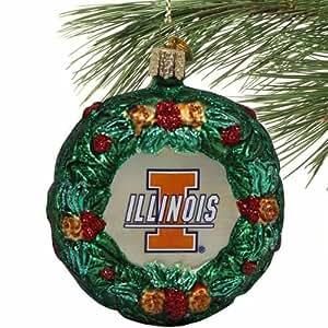 NCAA Illinois Fighting Illini Glass Wreath Ornament