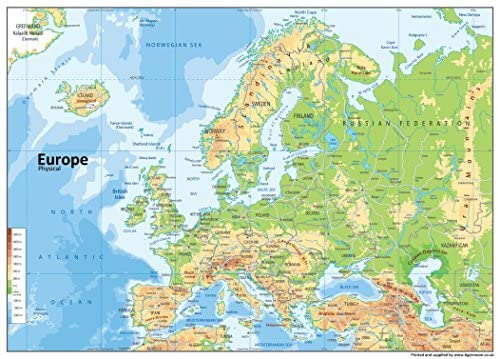 Europe Physical Map - Paper Laminated - A0 Size 84.1 x 118.9 cm