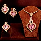 3PCS The queen of hearts crystal Necklace Earrings Ring womens Jewelry Sets#by pimchanok shop (Pink)