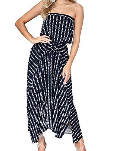 - FANCYINN Womens Strapless Striped Printed Side Split Long Dresses Navy Blue S