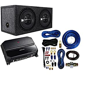"Kenwood P-W1221 Car audio Package With Dual 12"", 3/4"" MDF Sealed Subwoofer Enclosure And 4 Gauge AMP Kit"
