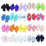 "SEEKO 20Pcs 3"" Solid Color Handcraft Baby Girl Grosgrain Ribbon Headbands Boutique Hair bows Alligator Clips For Teens Kids"