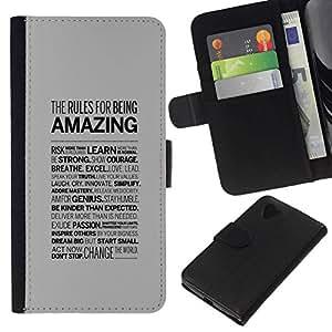 All Phone Most Case / Oferta Especial Cáscara Funda de cuero Monedero Cubierta de proteccion Caso / Wallet Case for LG Nexus 5 D820 D821 // AMAZING TYPOGRAPHY