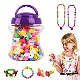 Kids Pop Beads Jewellery Making Set, Plastic Pop Snap Beads Jewel Necklace Bracelet Rings DIY Toy Plug-In Beads for Girls Christmas Birthday Children's Day Gift Set