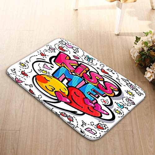 ed5 Funny Doormat Print Home Mat Washable Floor Entrance Outdoor Indoor Rug Doormat Non-Woven Fabric 23.6 W X 15.7 W Inches kiss me Word Bubble Message pop Art Comic Style ha ()
