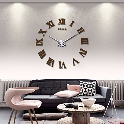 promotion 2016 new home decor large roman mirror fashion modern Quartz clocks living room diy wall clock watch