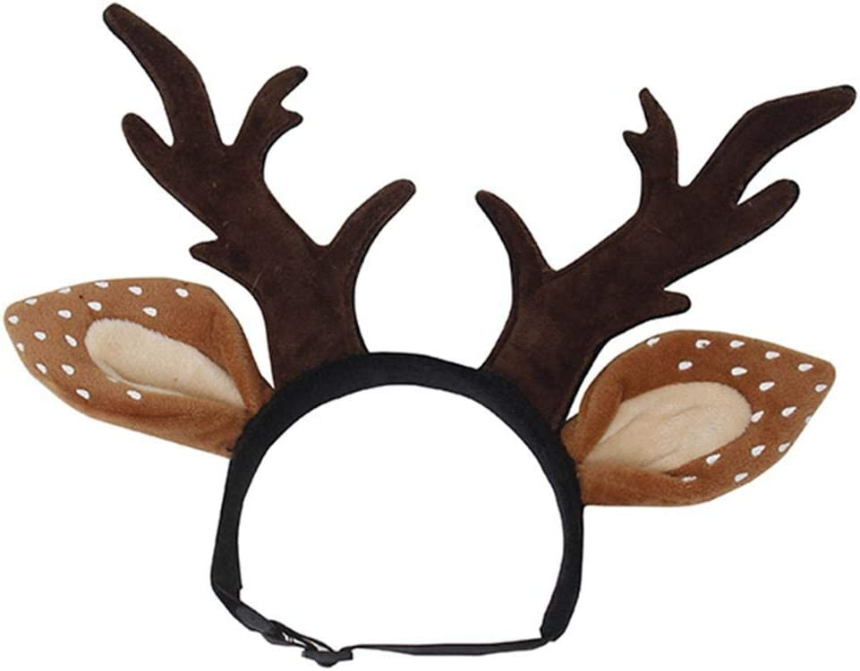 whelsara Christmas Pet Santa Hat Antlers Headband for Pets Puppy Kitten Dogs Cats Holiday Festivals Parties Costume Apparel Accessories cost-effective