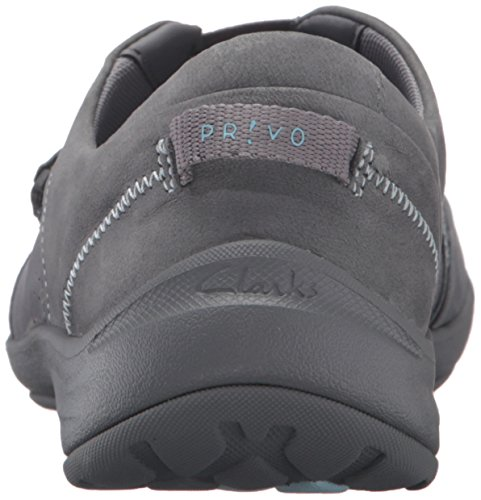 Clarks Women's Asney Slipon Fashion Sneaker, Grey Nubuck, 6 M US Grey Nubuck