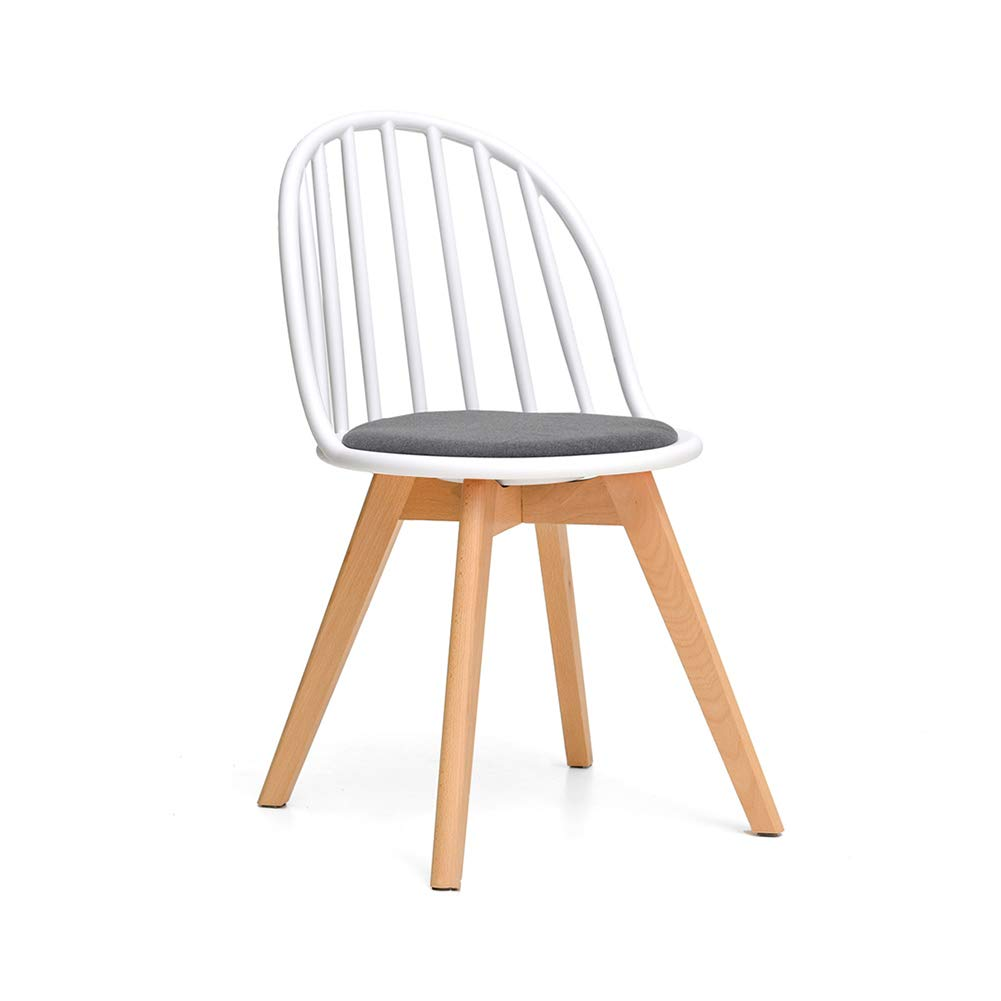 White LYXPUZI Nordic Modern Dining Chair Desk Chair Fashion Chair Plastic Chair Solid Wood Chair (color   White)