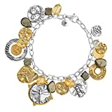 Silpada 'Perfect Composition' Sterling Silver, Brass, Citrine, Pyrite and Quartz Charm Bracelet 8.5""