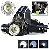 Rechargeable Waterproof T6 LED Headlamp, Adjustable Focus, 3 Switch Mode, 18650 Zoomable LED Headlamp Headlight Torch