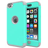 iPod Touch 6 Case,iPod Touch 5 Case,SLMY(TM)Heavy Duty High Impact Armor Case Cover Protective Case for Apple iPod touch 5 6th Generation Green/Gray