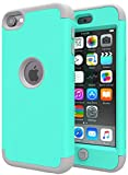iPod Touch 7 Case,iPod Touch 7 Case,SLMY(TM)Heavy Duty High Impact Armor Case Cover Protective Case for Apple iPod touch 5/6/7th Generation Green/Gray