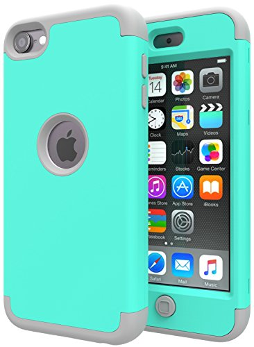 iPod Touch 7 Case,iPod Touch 6 Case,SLMY(TM)Heavy Duty High Impact Armor Case Cover Protective Case for Apple iPod touch 5/6/7th Generation Green/Gray (Ipod 5 Color Gray Case)