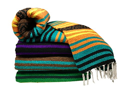 Spirit Quest Supplies Bodhi Blanket Mexican Style Throw Blanket - Falsa Blanket for Yoga, Picnics, Beach, Tapestry, Camping, More (Mirage: Turquoise, Orange, Yellow, Black, Brown)