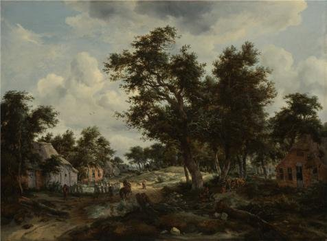 Hamlet Costumes For Sale (Oil Painting 'A Wooded Landscape With Travelers On A Path Through A Hamlet,about 1665 By Meindert Hobbema' Printing On Perfect Effect Canvas , 24x33 Inch / 61x83 Cm ,the Best Home Office Gallery Art And Home Decoration And Gifts Is This Cheap But High Quality Art Decorative Art Decorative Prints On Canvas)