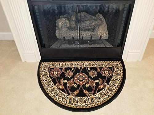 GAD Premium Half Circle Hearth Rug - Flame Resistant Fireplace Slice Rug - Traditional Design Black, Red and Beige Indoor Half Round Door Mat (Rug Circle Stripe)