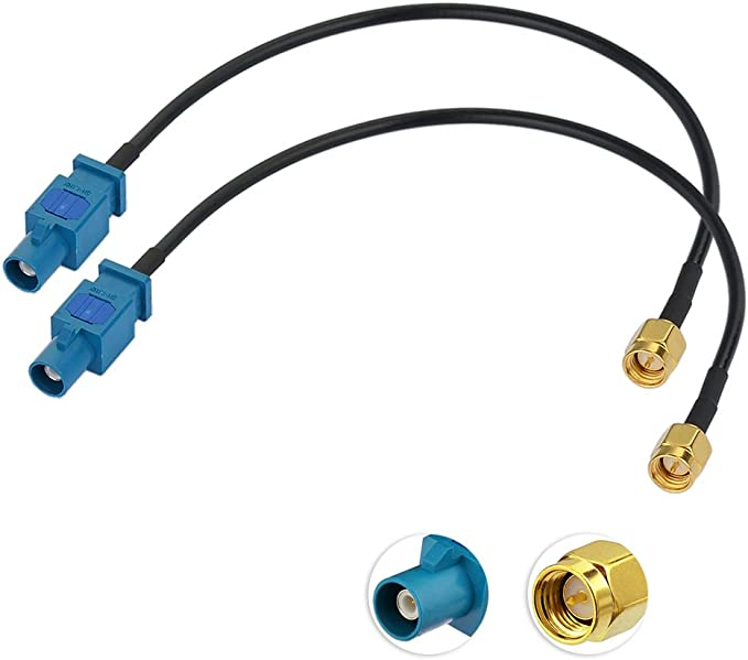 Eightwood Dab Antena Adaptador Fakra SMA Radio de Coche TV Dab GPS Fakra Z a SMA Plug Pigtail Fakra Cable RG174 8 Pulgadas 20cm 2 Piezas para Audi ...