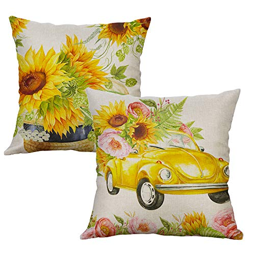 LEVOSHUA 2 Pack Summer Sunflowers Pillow Cover Throw Pillow Case Cushion Cover Pillowcase Home Decorative for Sofa 18