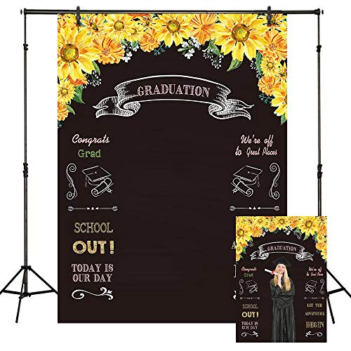 (Funnytree 6X8FT Durable Fabric Graduation Chalkboard Photography Backdrop Sunflowers Floral Selfie Photo Background for College Grad Congrats Party Banner Prom Decorations Props )