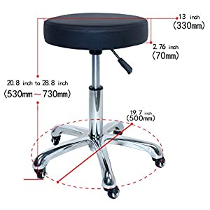 Rolling Swivel Stool Chair For Salon Spa Office Tattoo Facial Massage Bar Black Chair(Adjustable Hydraulic With Wheel)