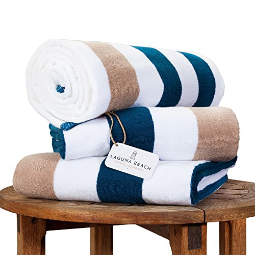 Oversize Plush Cabana Towel by Laguna Beach Textile Co | Navy and Almond Tan | 1 Classic, Beach and Pool House Towel
