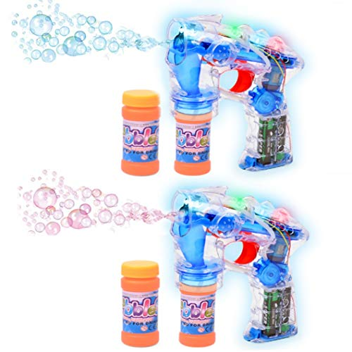 Haktoys 2-Pack Transparent Bubble Gun Shooter Light Up Blower | Toy Bubble Blaster for Toddlers, Kids, Parties | LED Flashing Lights, Extra Refill Bottle, Sound-Free (Batteries Included)
