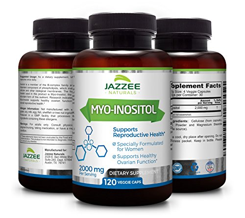 Myo Inositol for PCOS | 120 Veggie Capsules | 2000 mg per Serving | Vegetarian/Vegan | Potent PCOS, Fertility, and Reproductive Support | All Natural