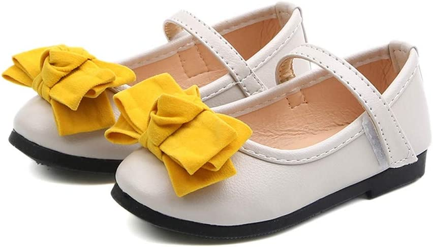 34, White CReditably Baby Girls Leather Shoes Butterfly-knot Hook Shoes Flat Party Shoes Princess Shoes Summer Shoes For Toddler Casual Loop Shoes For Kids Girls Sandals
