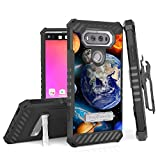 LG V20 Case, Trishield Durable Rugged Phone Cover With Detachable Lanyard Loop Belt Clip Holster And Built in Kickstand Card Slot For LG V20 - Solar Planet Galaxy