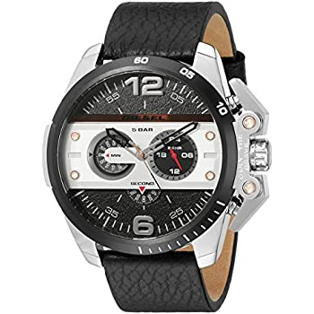 Diesel Mens DZ4361 Ironside Stainless Steel Watch with Black Leather Band