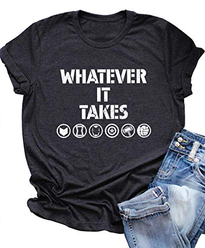 SUNFLYLIG Funny Letter Print T Shirt for Women Whatever It Takes Tee Summer Casual Short Sleeve T-Shirt Teen Girls Cute Tops (Large, Grey) -