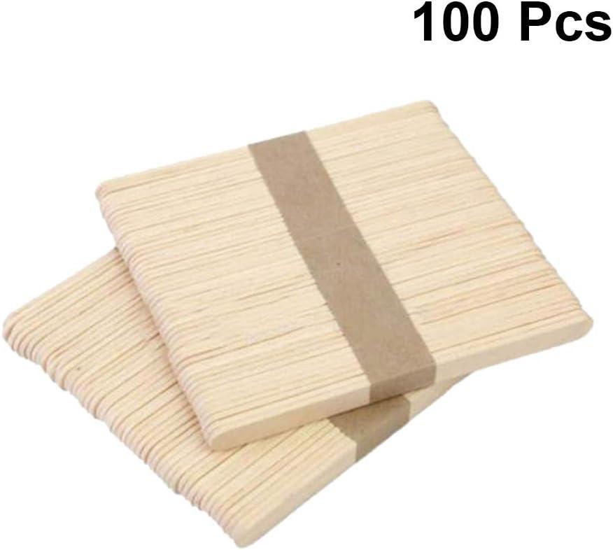 paletas de helado desechables esp/átulas de cera Toyvian 100 palitos de madera para manualidades