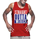 Mens Straight Outta Merica - USA American Flag Tank Top T-shirt (XL, RED)