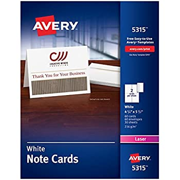 Amazon avery printable note cards inkjet printers 50 cards avery printable note cards laser printers 60 cards and envelopes 425 x 55 5315 reheart Choice Image