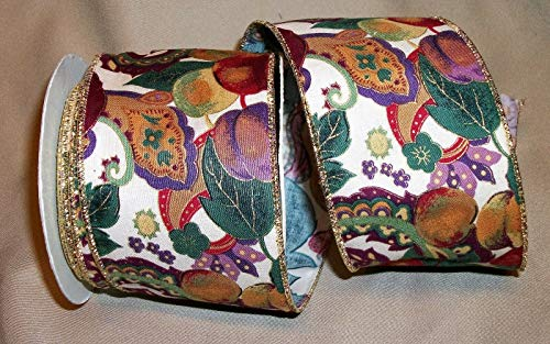 Ribbon Art Craft Decoration 10 yd. roll FRUITFUL Paisley Wire Edge Cotton Ribbon 2 1/2