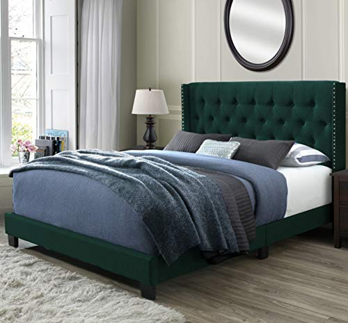 (DG Casa 12850-Q-GRNV Bardy Diamond Tufted Upholstered Wingback Panel Bed Frame, Queen Size in Green Faux Velvet Fabric)