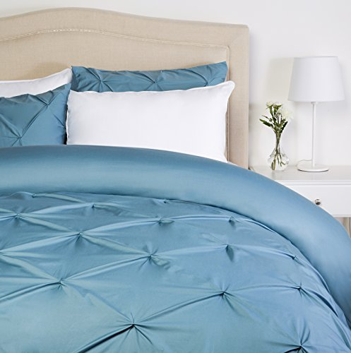 Pinzon Pinch-Pleat Duvet Cover Set - King, Flint Blue