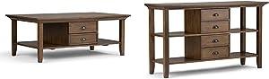 Simpli Home Redmond Coffee Table, Rustic Natural Aged Brown + Simpli Home Redmond Console Sofa Table, Rustic Natural Aged Brown :Bundle