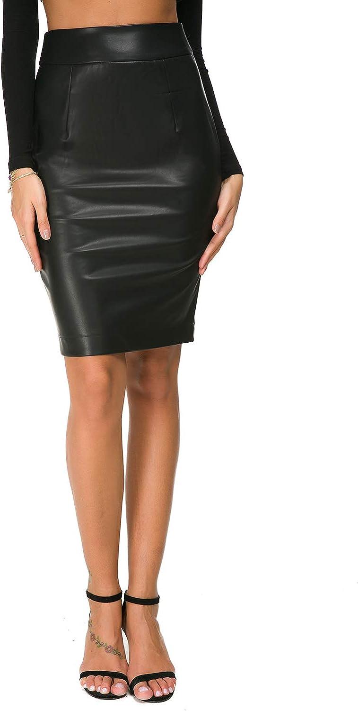 Women Skirts PU Faux Leather High Waisted Back Split Bodycon Midi Pencil  Skirt
