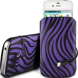 Online-Gadgets UK - Nokia Asha 230 protección PU Zebra Diseño deslizamiento cordón tirador de la cremallera de la bolsa del caso con el cable de liberación rápida y Datos USB de carga - Purple