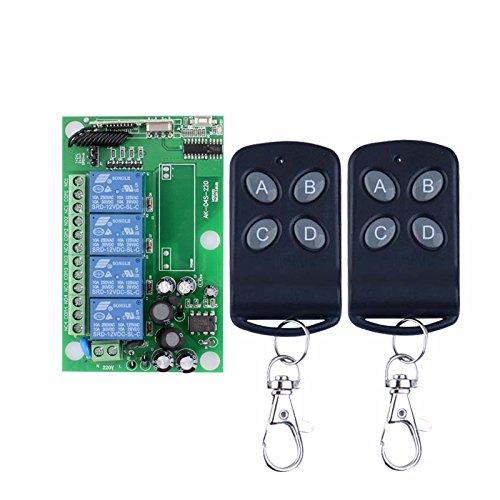 lejin AC 85V ~ 250V 220V 110V 4canales rf inalámbrico mando a distancia inalámbrico Interruptor con sistema de radio 220V Salida de relé Receptor de control de mando a distancia emisor radio emisor/r