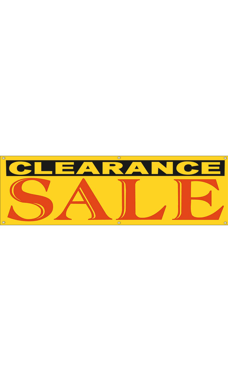 Large Yellow Clearance Sale Banner - 10'W x 3'H