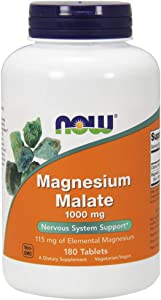 NOW Magnesium Malate 1000mg, 180 Tablets (Pack of 2)