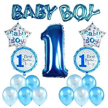 Kesote Conjunto de Globos de Cumpleaños para Niños Globos para el Primer Cumpleaños Decoraciones de Cumpleaños Recién Nacido 7 Globos de Papel + 10 ...