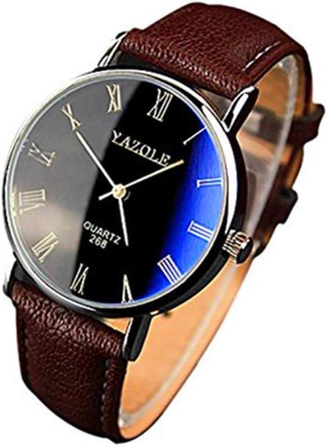 WSSVAN Reloj de negocios para hombres Reloj de cuarzo a prueba de agua para hombres simples Reloj de cuero de imitación de lujo para hombres Reloj mecánico (marrón)