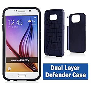 Samsung Galaxy S6 Edge+ (Plus) Hybrid Armor Defender Case Cover with Flexible Phone Stand - Batman Steel Logo at Gotham City Store